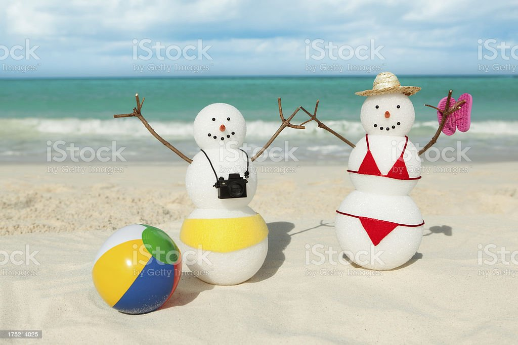 Couple Winter Vacation in Tropical Caribbean White Sand Beach stock photo