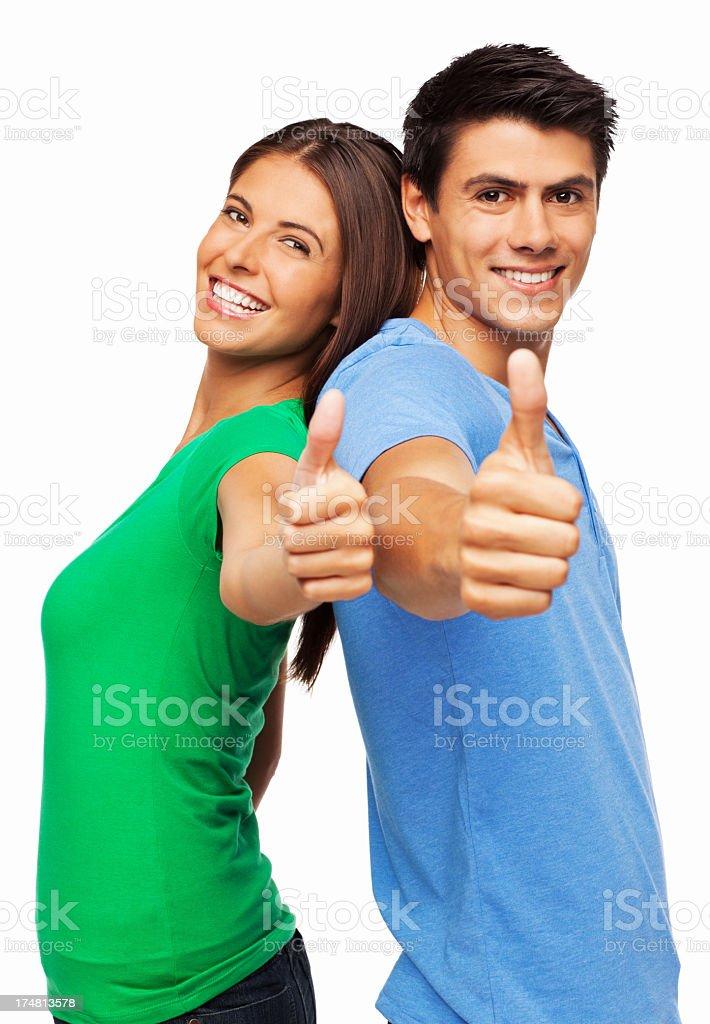 Couple Wishing Good Luck - Isolated royalty-free stock photo