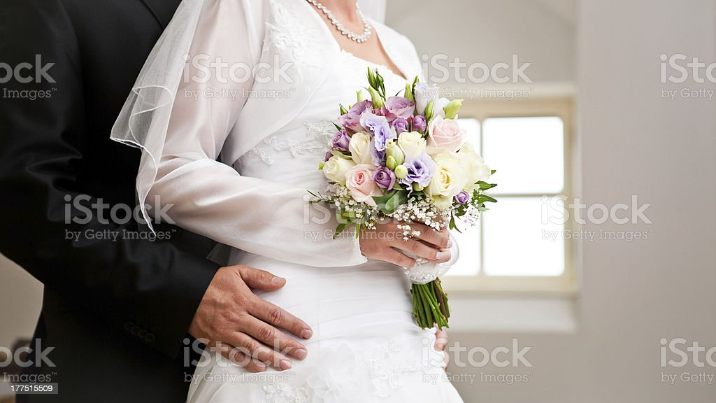 Couple with a bouquet royalty-free stock photo