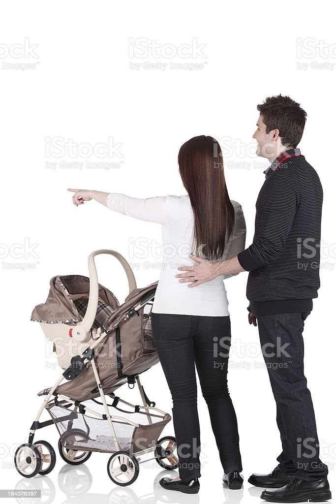 Couple with a pram royalty-free stock photo