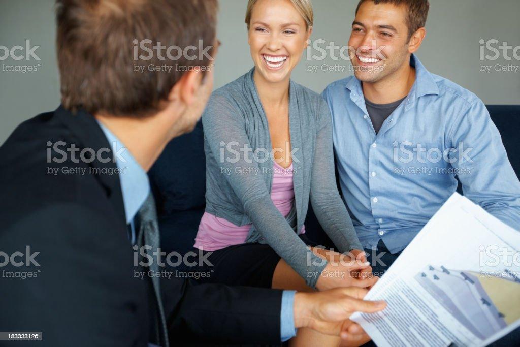 Couple with advisor royalty-free stock photo