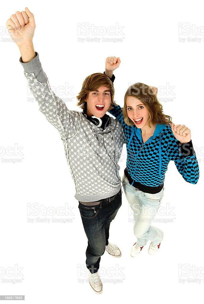 Couple with arms raised royalty-free stock photo