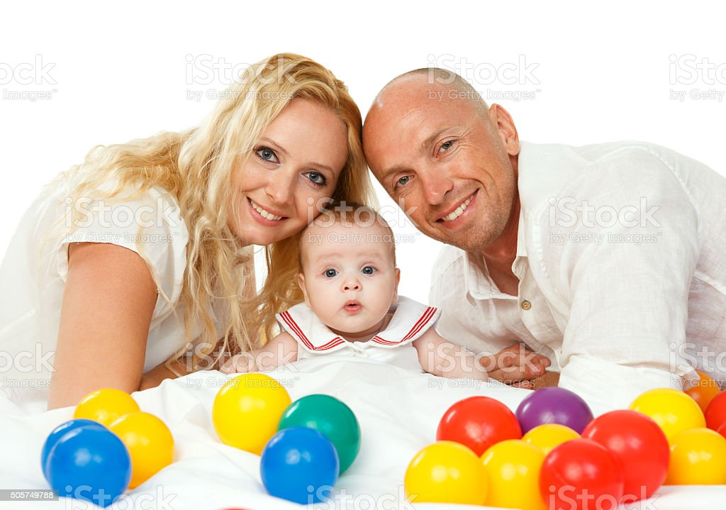 Couple with baby stock photo