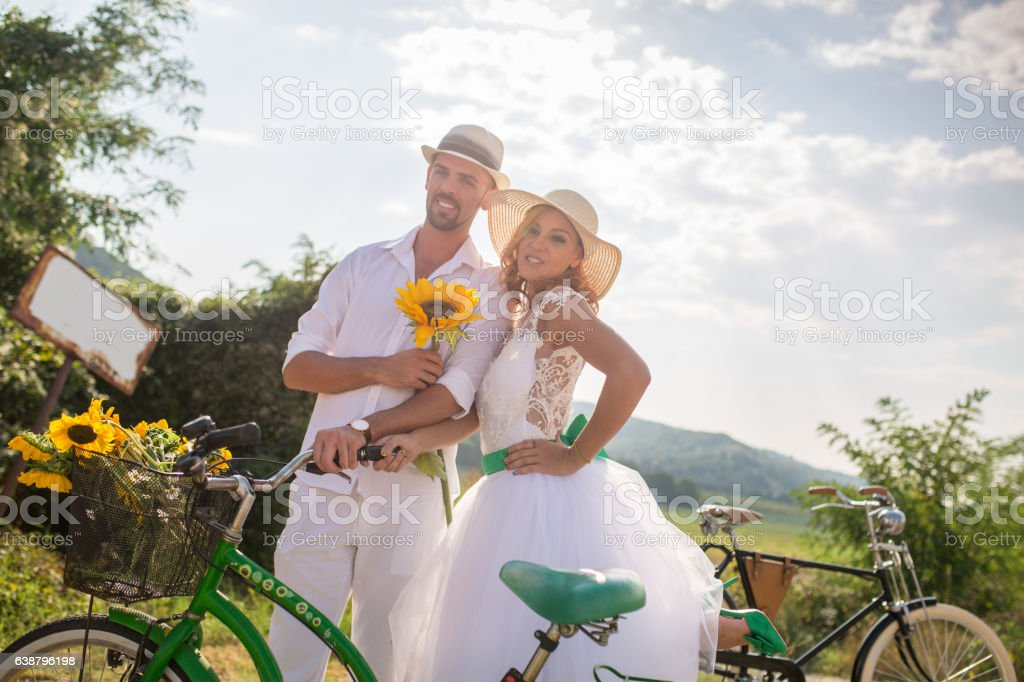 Couple with bicycles stock photo