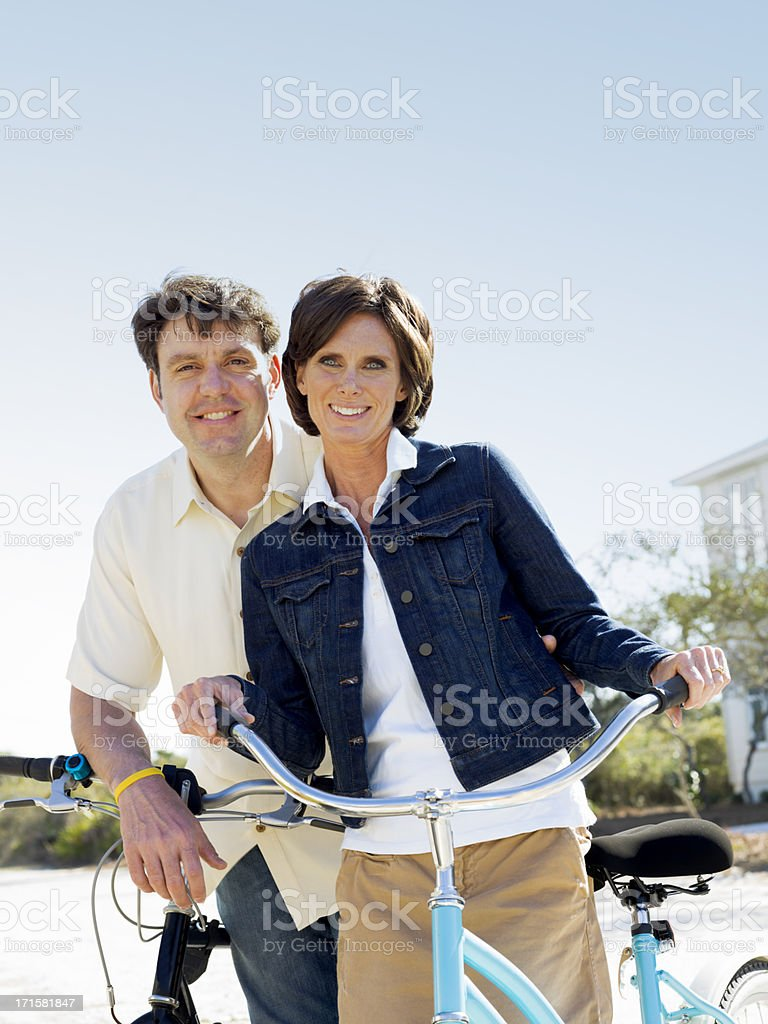 Couple with Bikes royalty-free stock photo