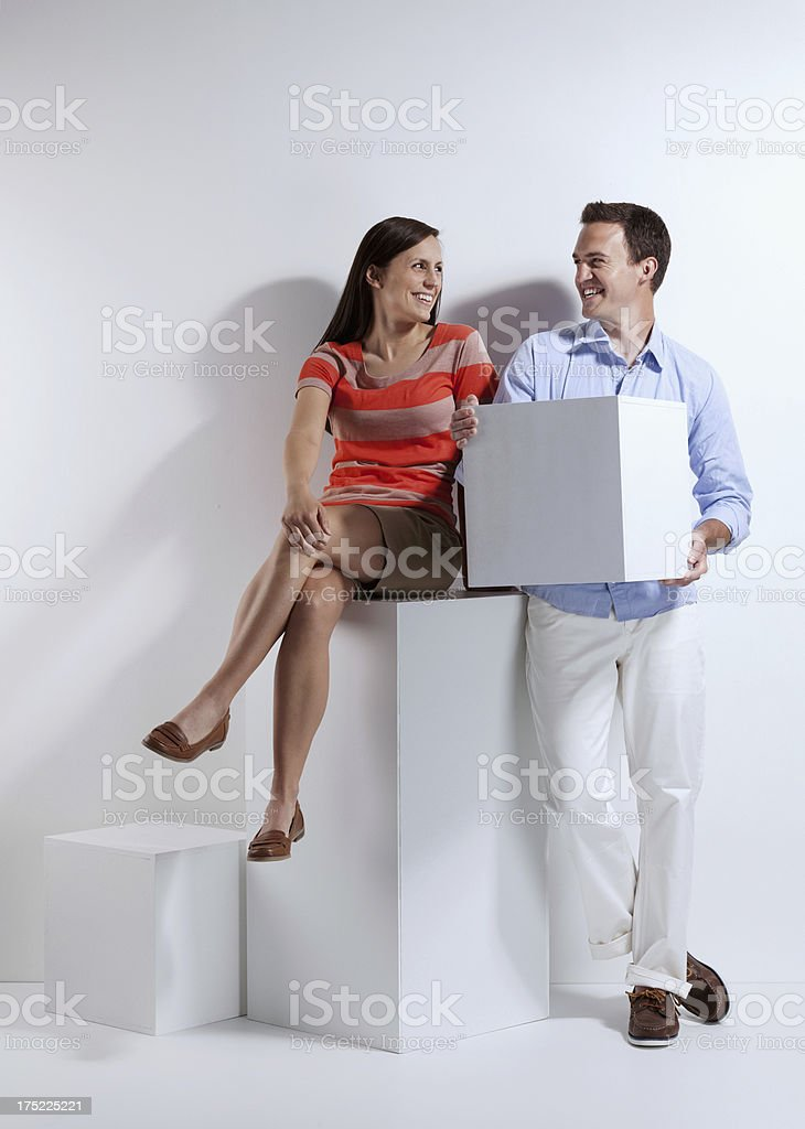 Couple with blocks royalty-free stock photo