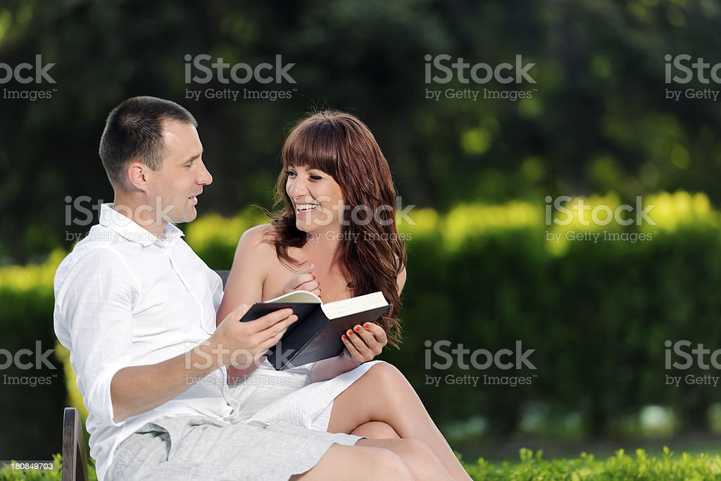 couple with book royalty-free stock photo
