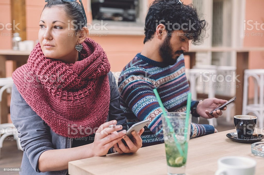 Couple with communication problems stock photo
