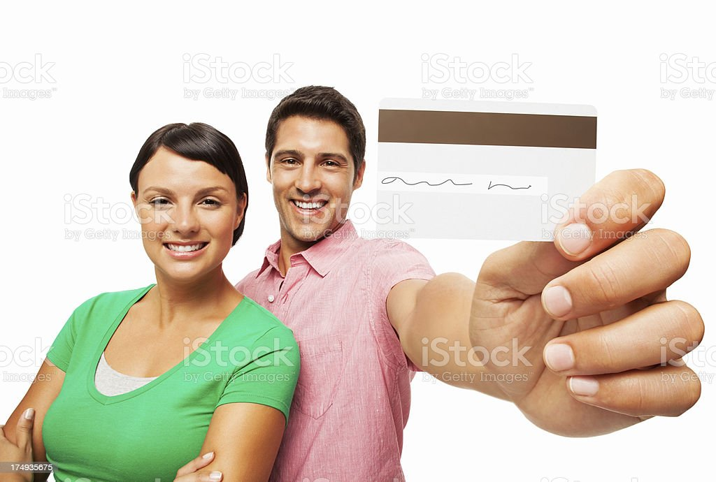 Couple With Credit Card - Isolated royalty-free stock photo
