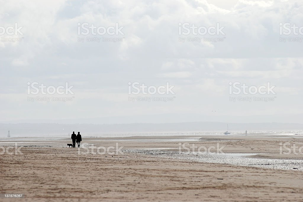 Couple with dog silhouette on the beach royalty-free stock photo