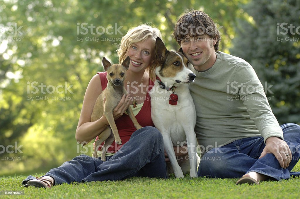 Couple with Dogs royalty-free stock photo