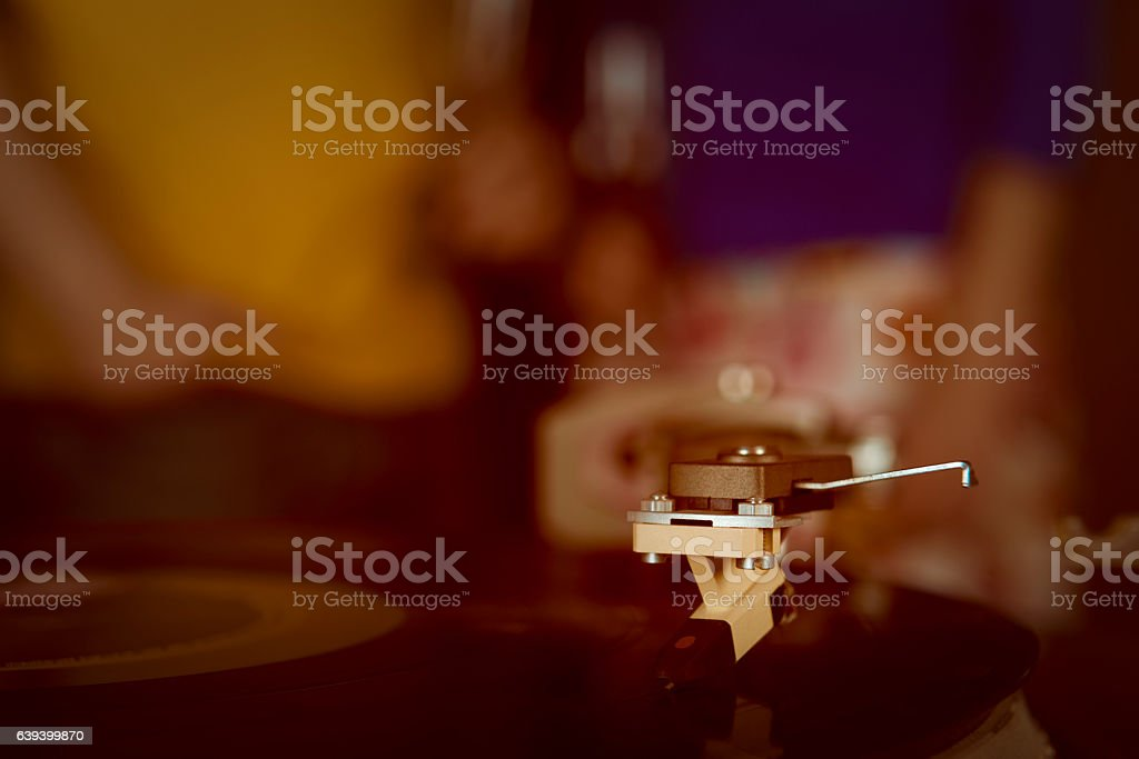 couple with drinks at party stock photo