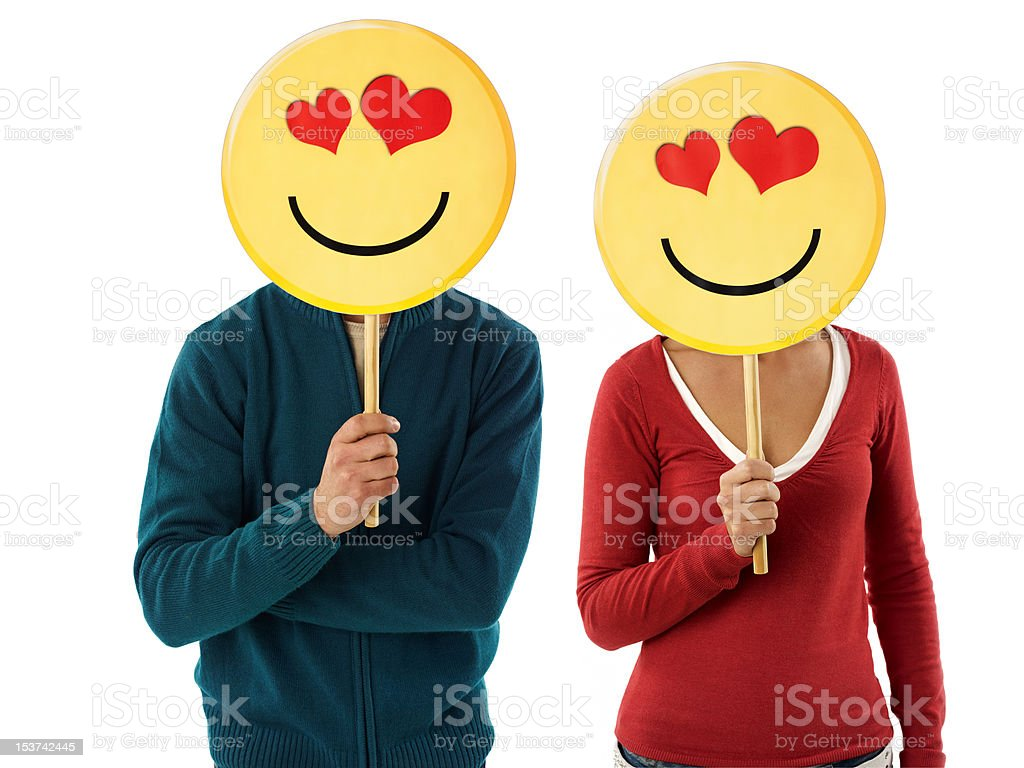 couple with emoticon stock photo
