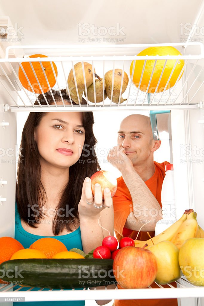 Couple with healthy food royalty-free stock photo