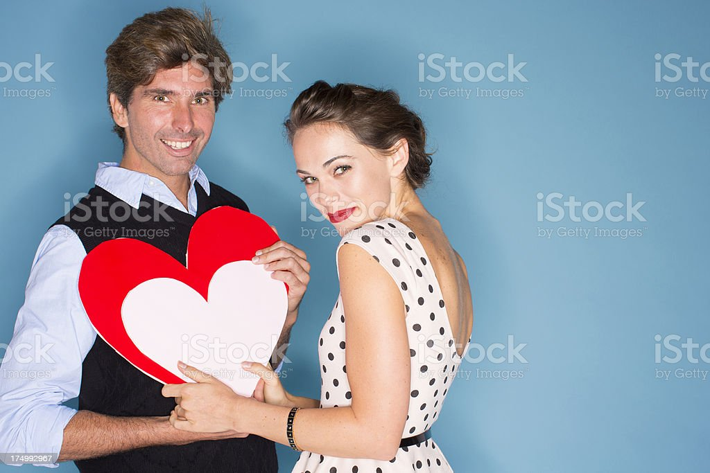 Couple with hearts stock photo