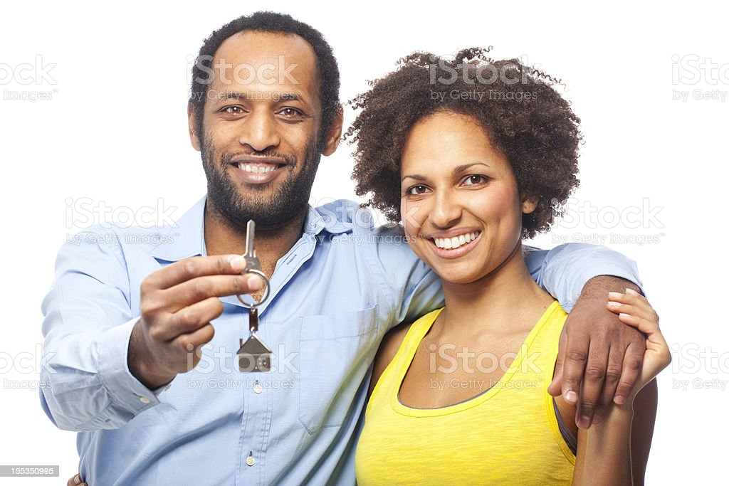 Couple with house keys royalty-free stock photo