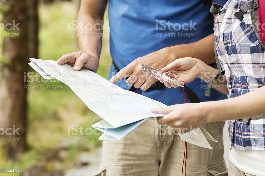 Couple With Map And Compass royalty-free stock photo