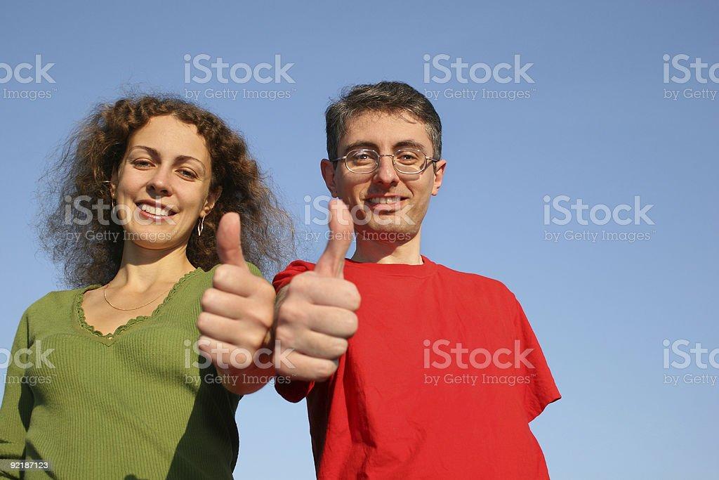 couple with OK fingers stock photo
