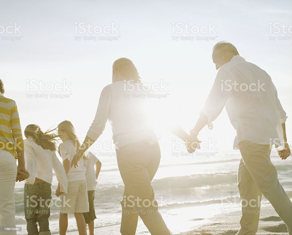 Couple with parents and children walking on a beach royalty-free stock photo