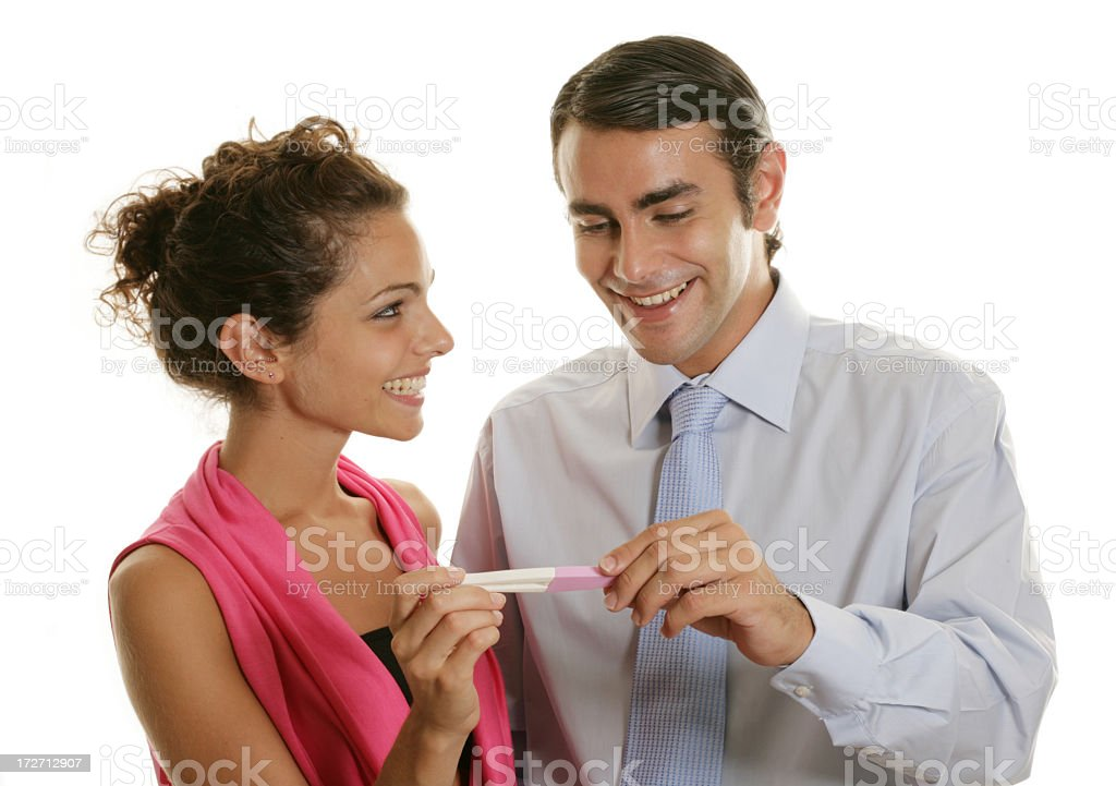 couple with pregnancy test royalty-free stock photo