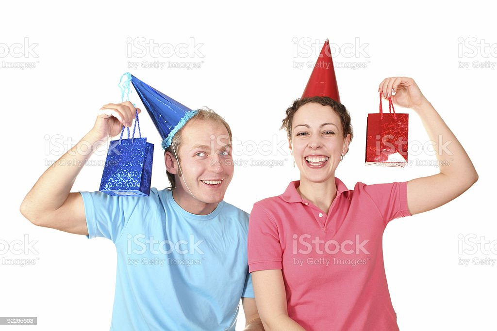 couple with presents royalty-free stock photo