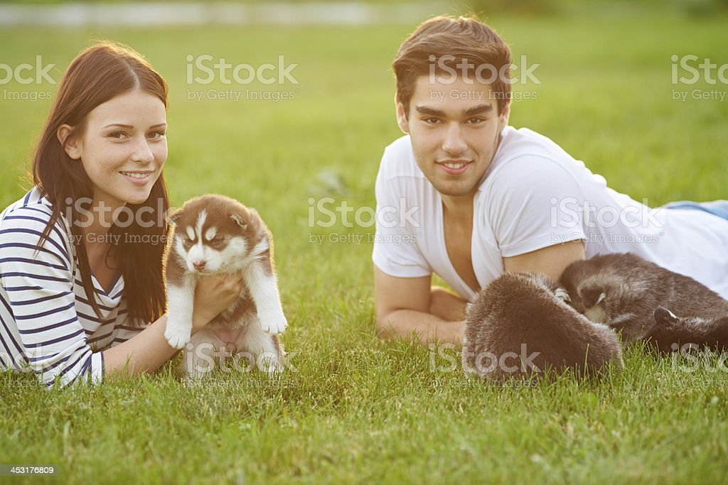Couple with puppies royalty-free stock photo