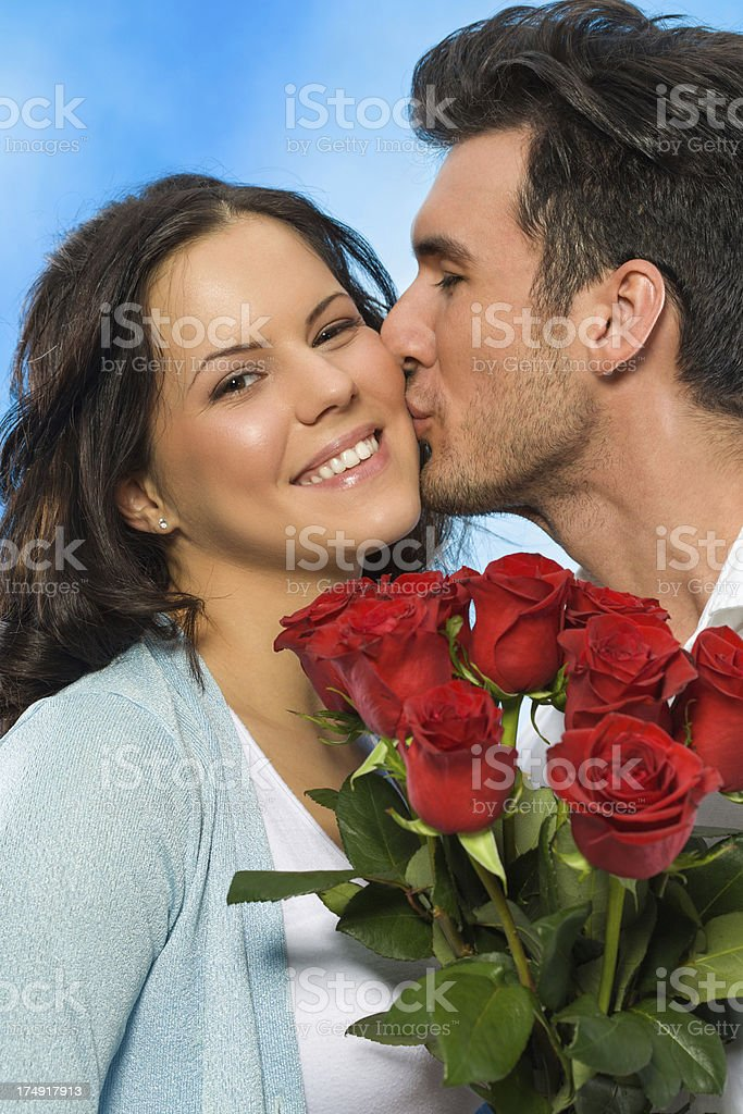 Couple with red roses royalty-free stock photo