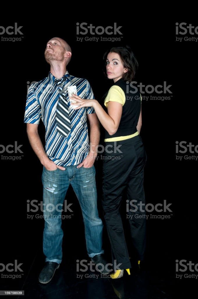 Couple with Russian Banknote royalty-free stock photo
