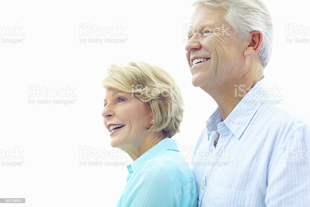 Couple with senior man embracing a woman royalty-free stock photo
