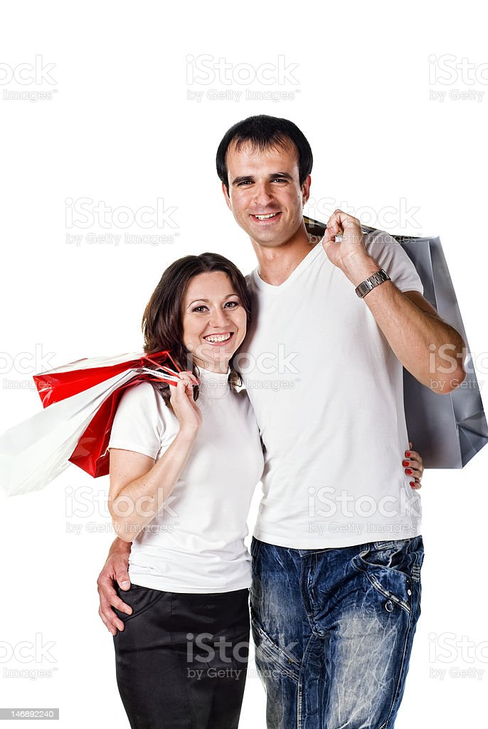 couple with shopping bags royalty-free stock photo