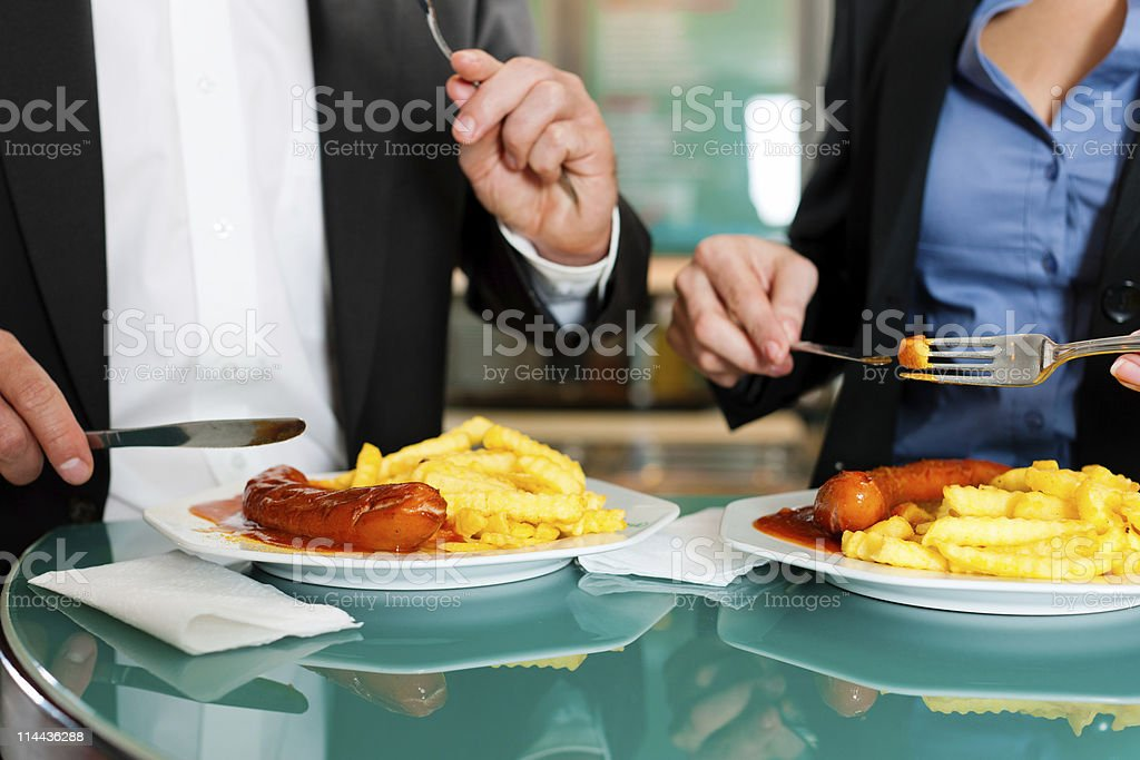 Couple with snack for lunch royalty-free stock photo