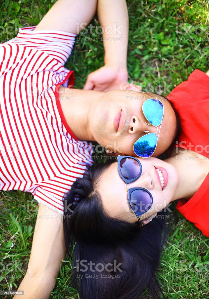 Couple with sunglasses . royalty-free stock photo