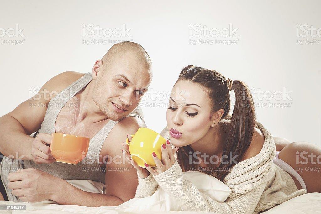 Couple with tea royalty-free stock photo