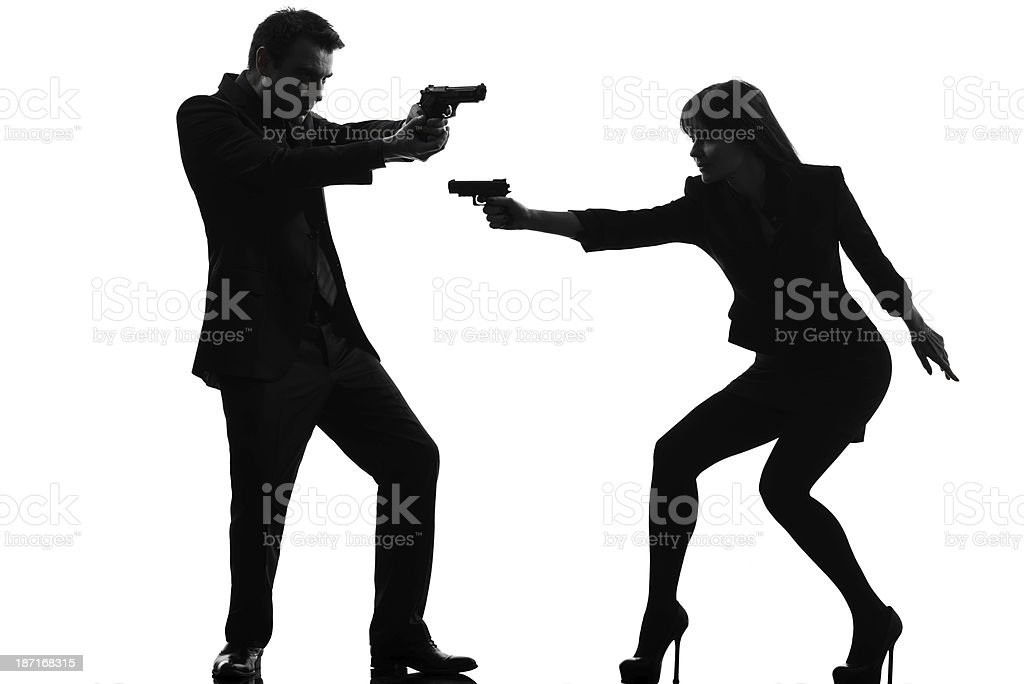 couple woman man detective secret agent criminal silhouette royalty-free stock photo