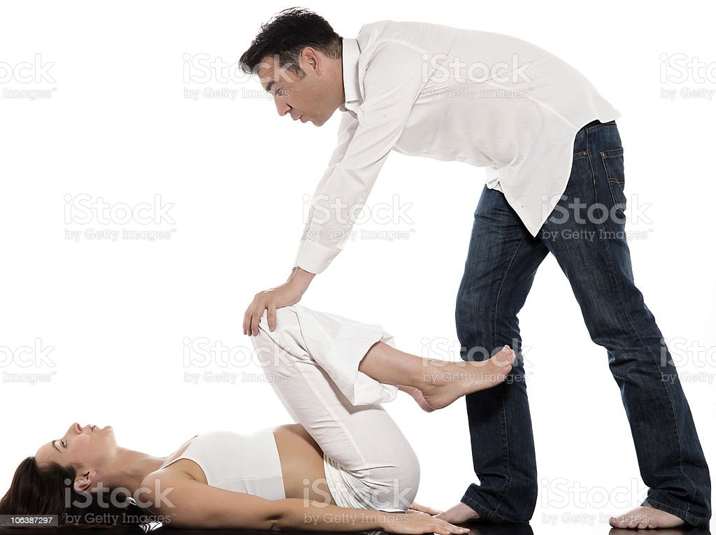 Couple woman pregnant  Breathing Exercise royalty-free stock photo