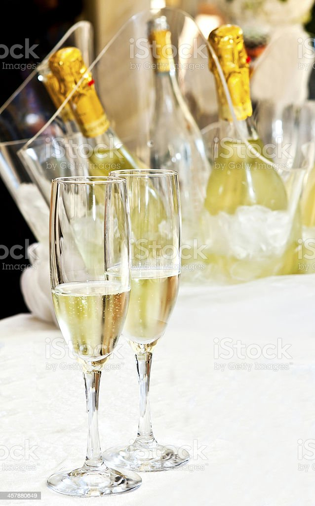 couple_of_glasses_ of_champagne_on_a_table royalty-free stock photo
