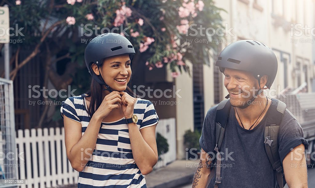 Couple's cycling stock photo