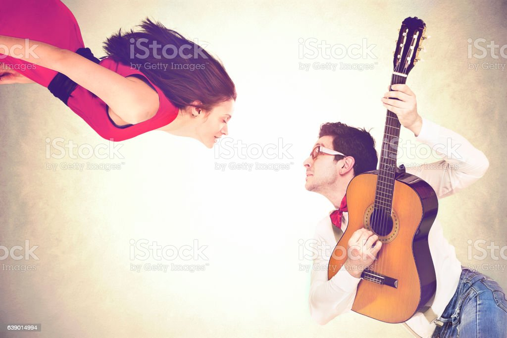 couples dancing together in the air to the sound stock photo