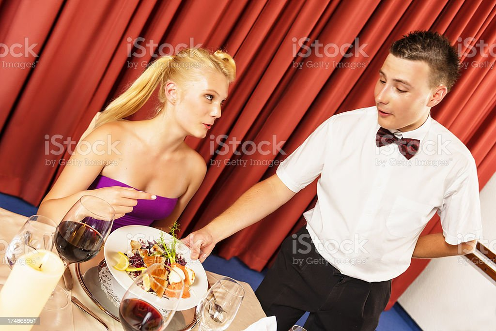 couples eating in restaurant stock photo