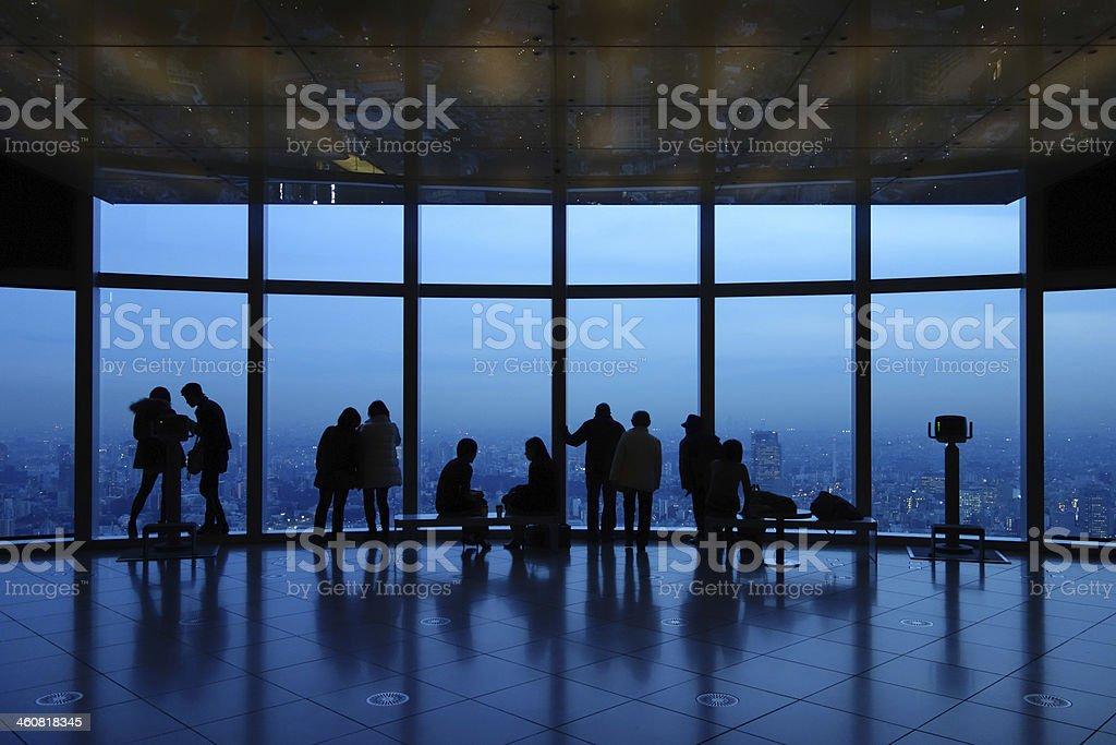 Couples Looking at Tokyo City stock photo