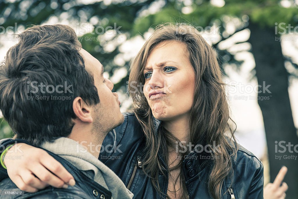 Couples outdoor in the park royalty-free stock photo