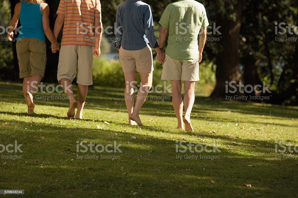 Couples walking in a park stock photo
