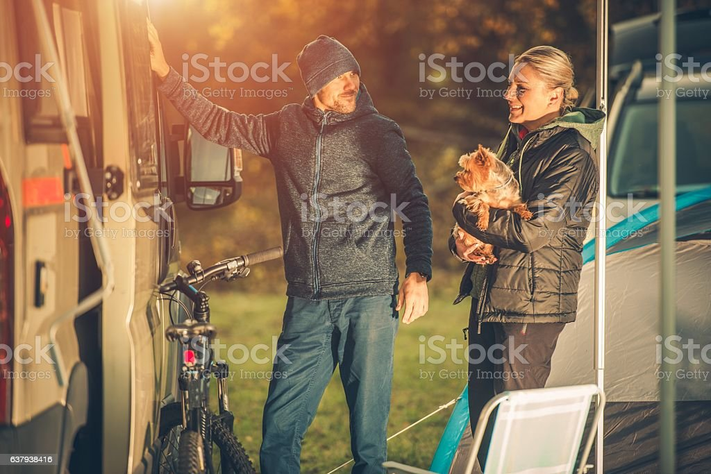 Couples with Dog Camping stock photo