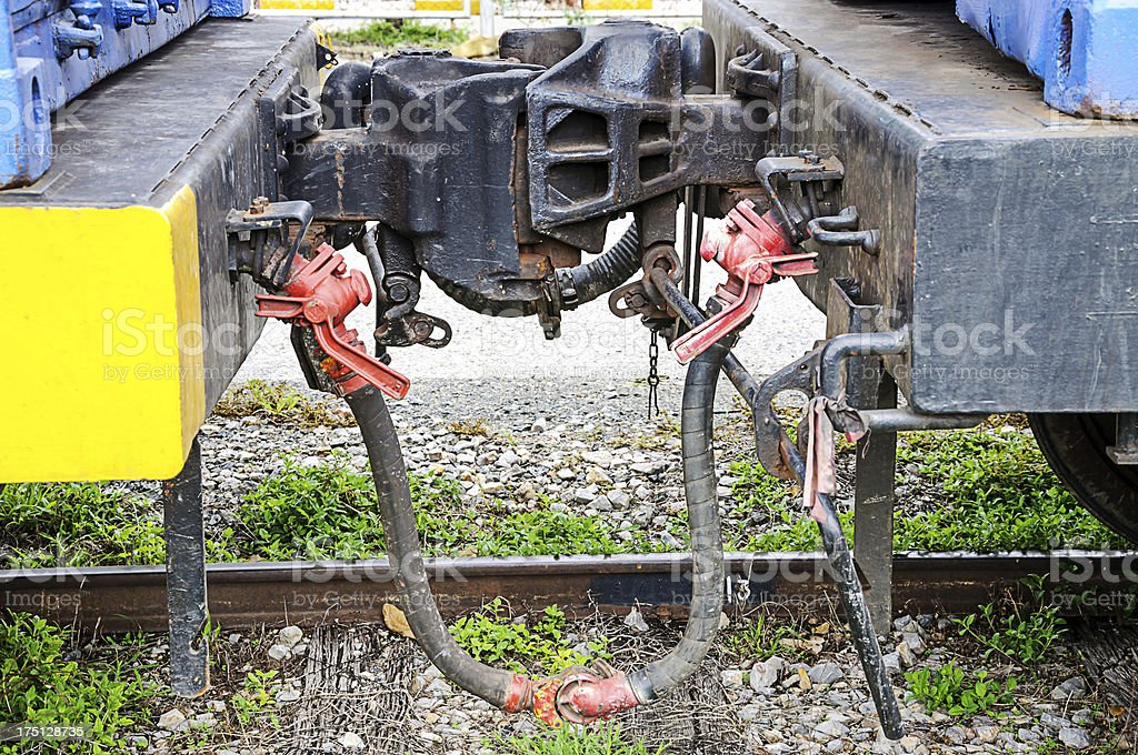 Coupling between two train cars royalty-free stock photo