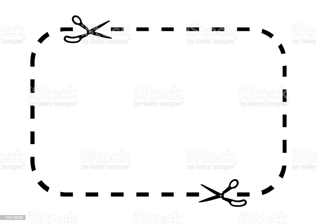 Coupon border on white stock photo
