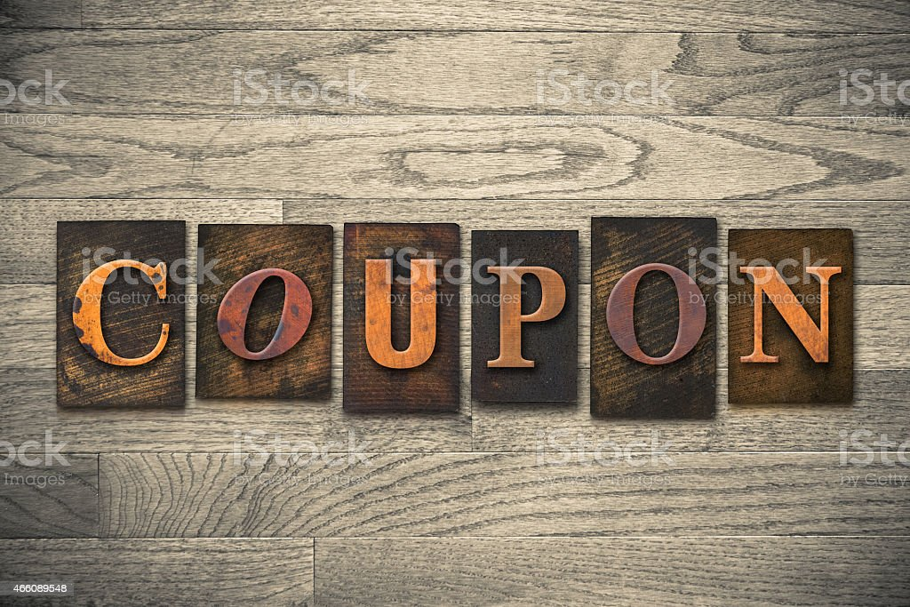 Coupon Concept Wooden Letterpress Type stock photo