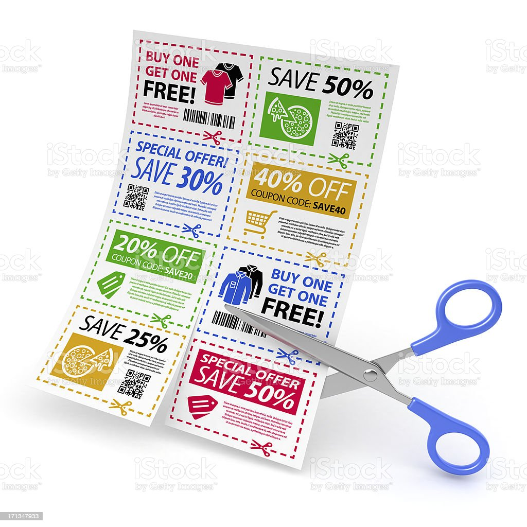 Coupon offers sheet with scissors stock photo