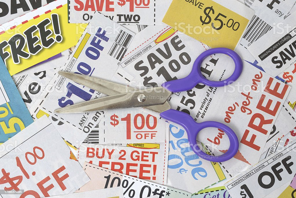 Coupons Pile stock photo