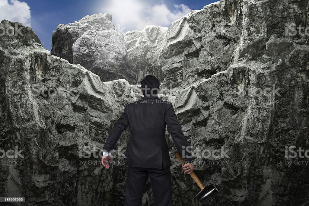 Courage of businessman. stock photo