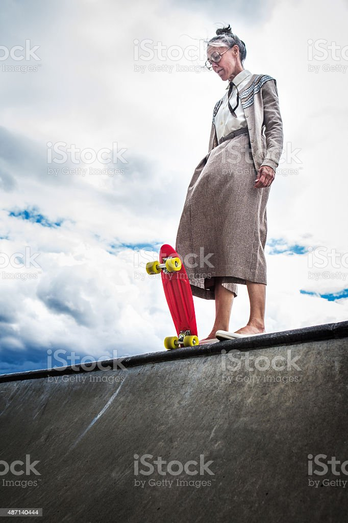 Courageous Grandma at Skatepark stock photo